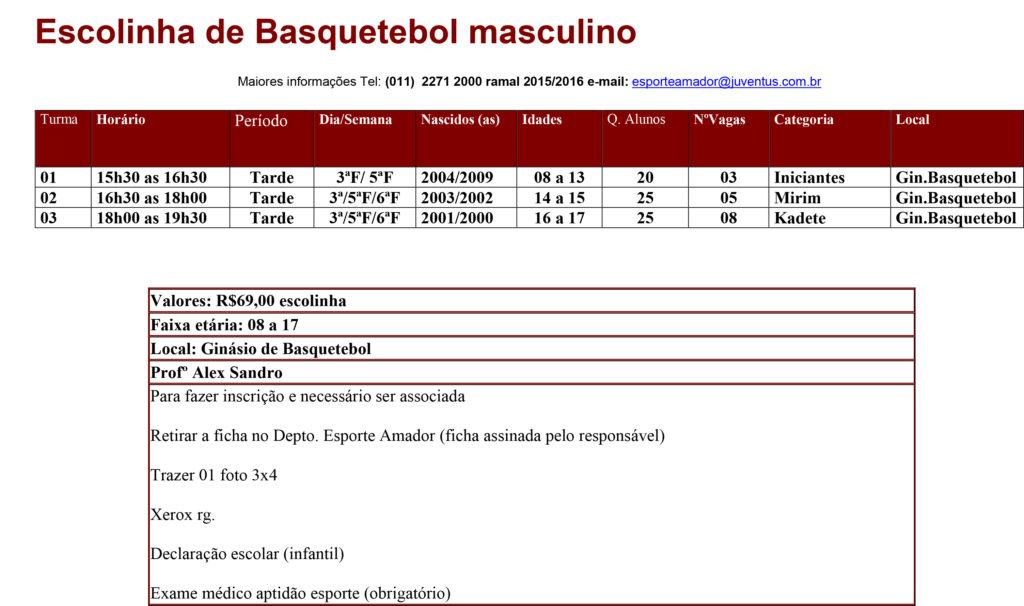 Escolinha de Basquetebol masculino-1