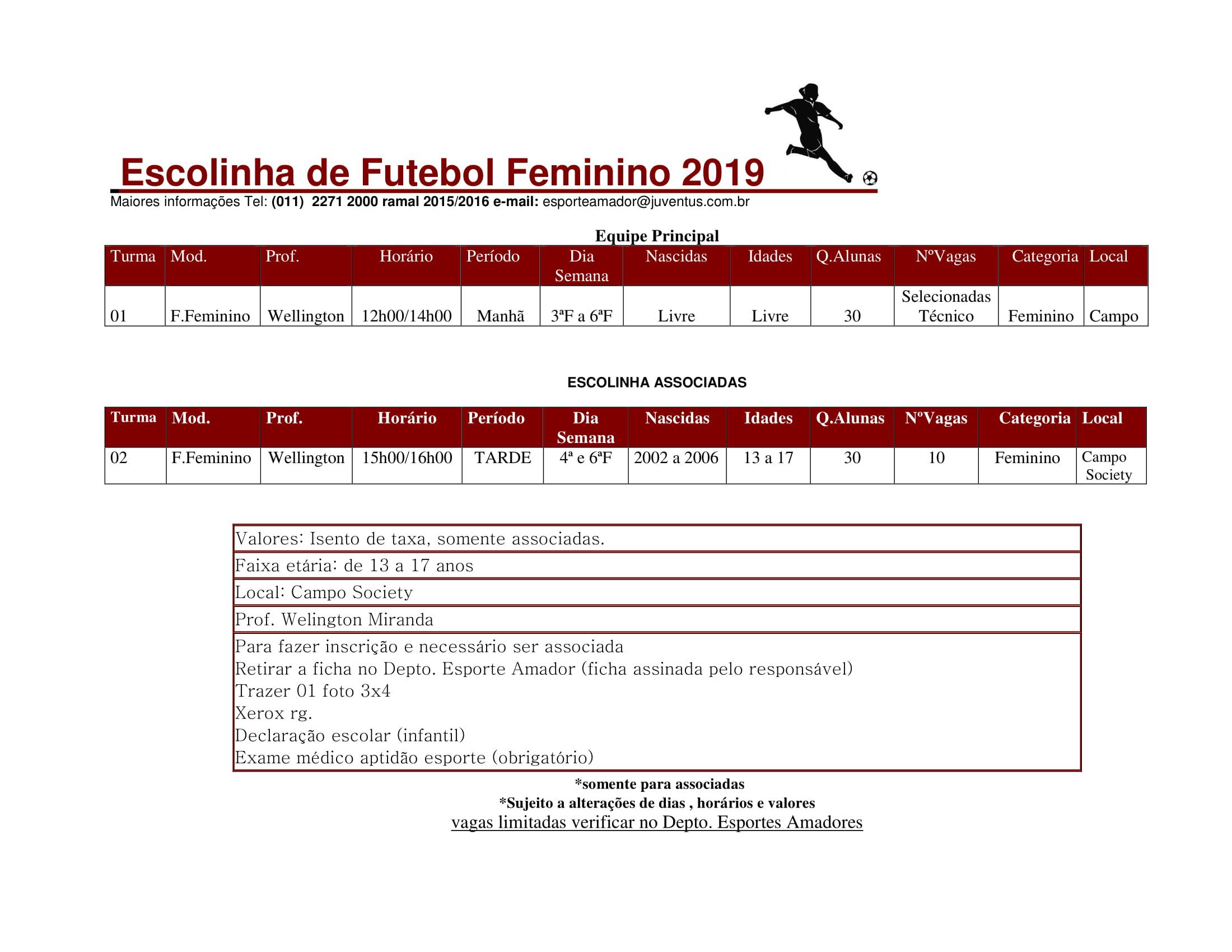 Futebol de Campo Feminino - Escolinha - 2019