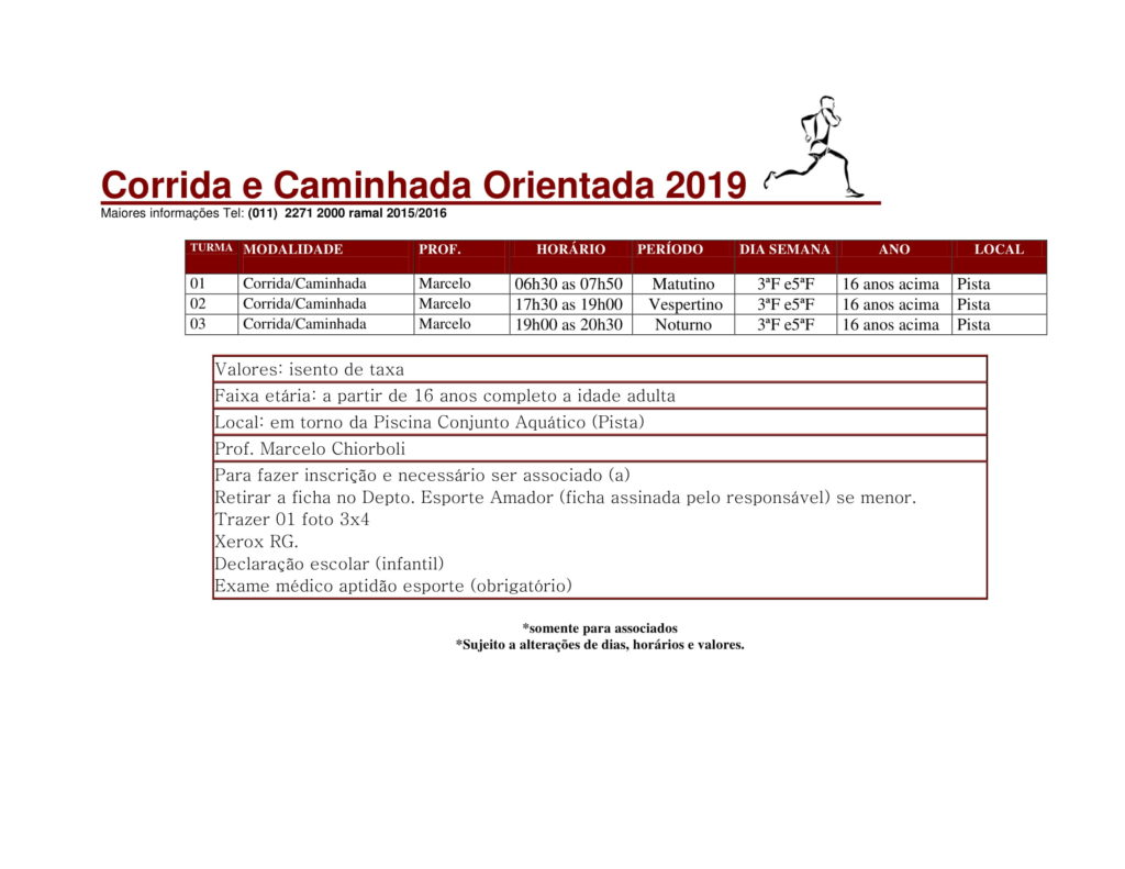 Corrida e Caminhada - Fevereiro 2019