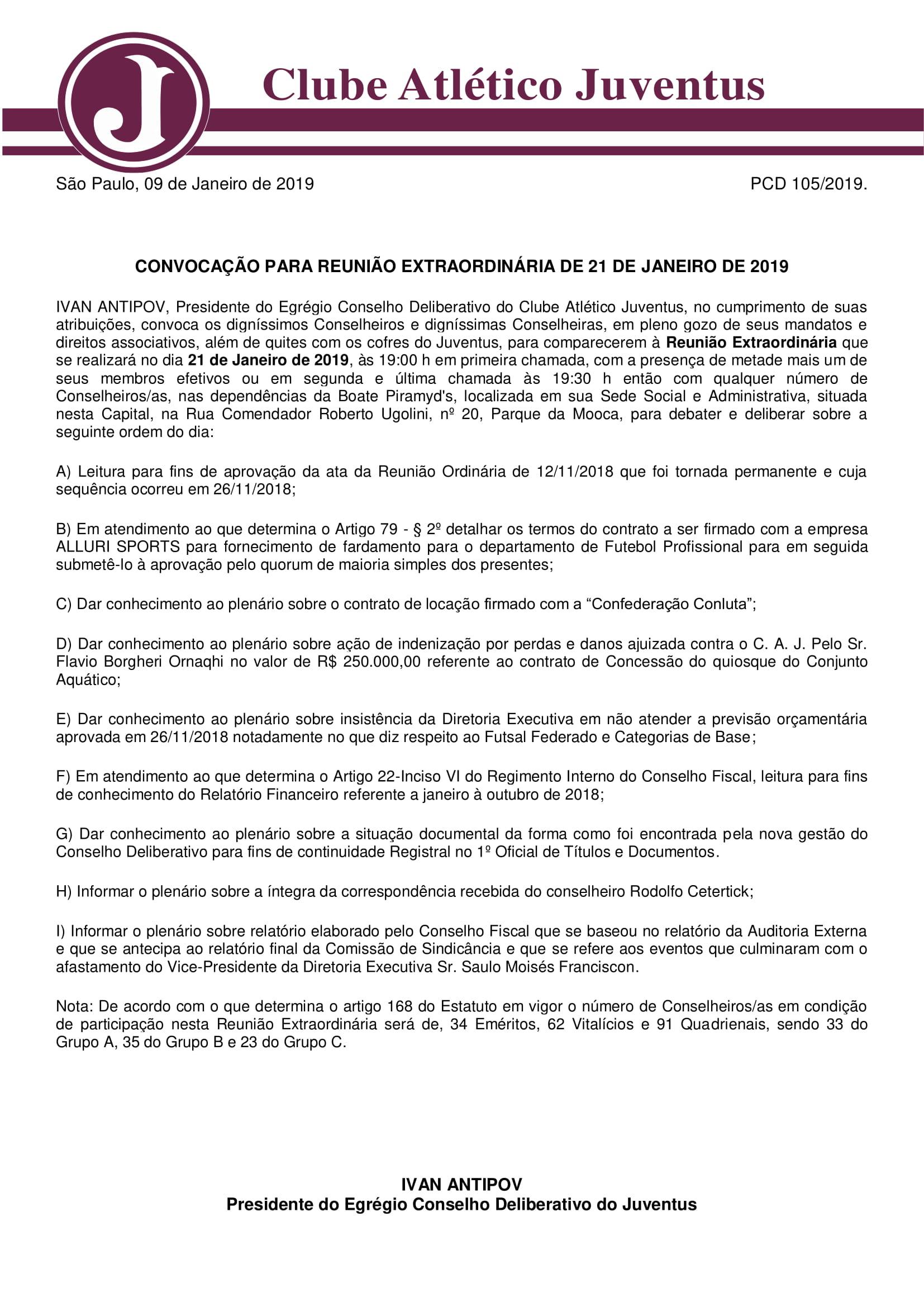 OFICIO 105-2019 EDITAL DE CONVOCAÇÃO 21-01-2019-1