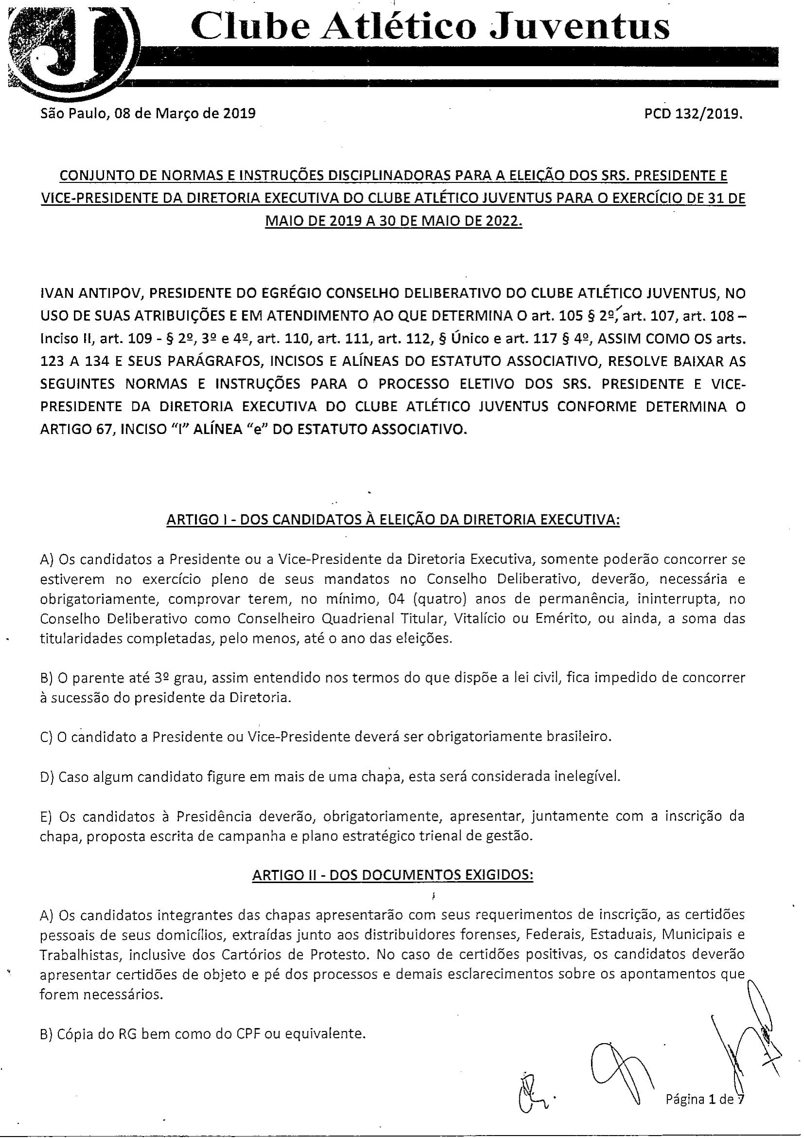 NORMAS DISCIPLINADORAS ELEIÇÃO 2019072-1