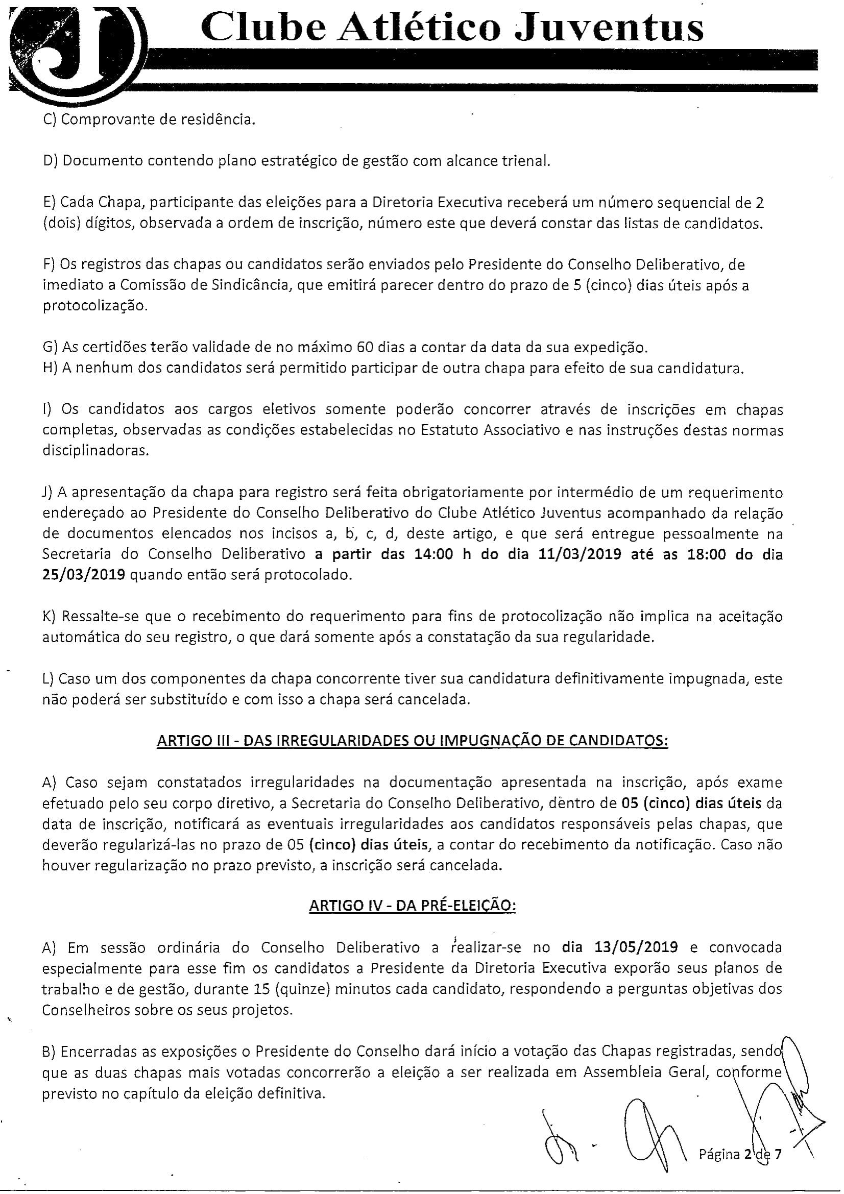 NORMAS DISCIPLINADORAS ELEIÇÃO 2019072-2