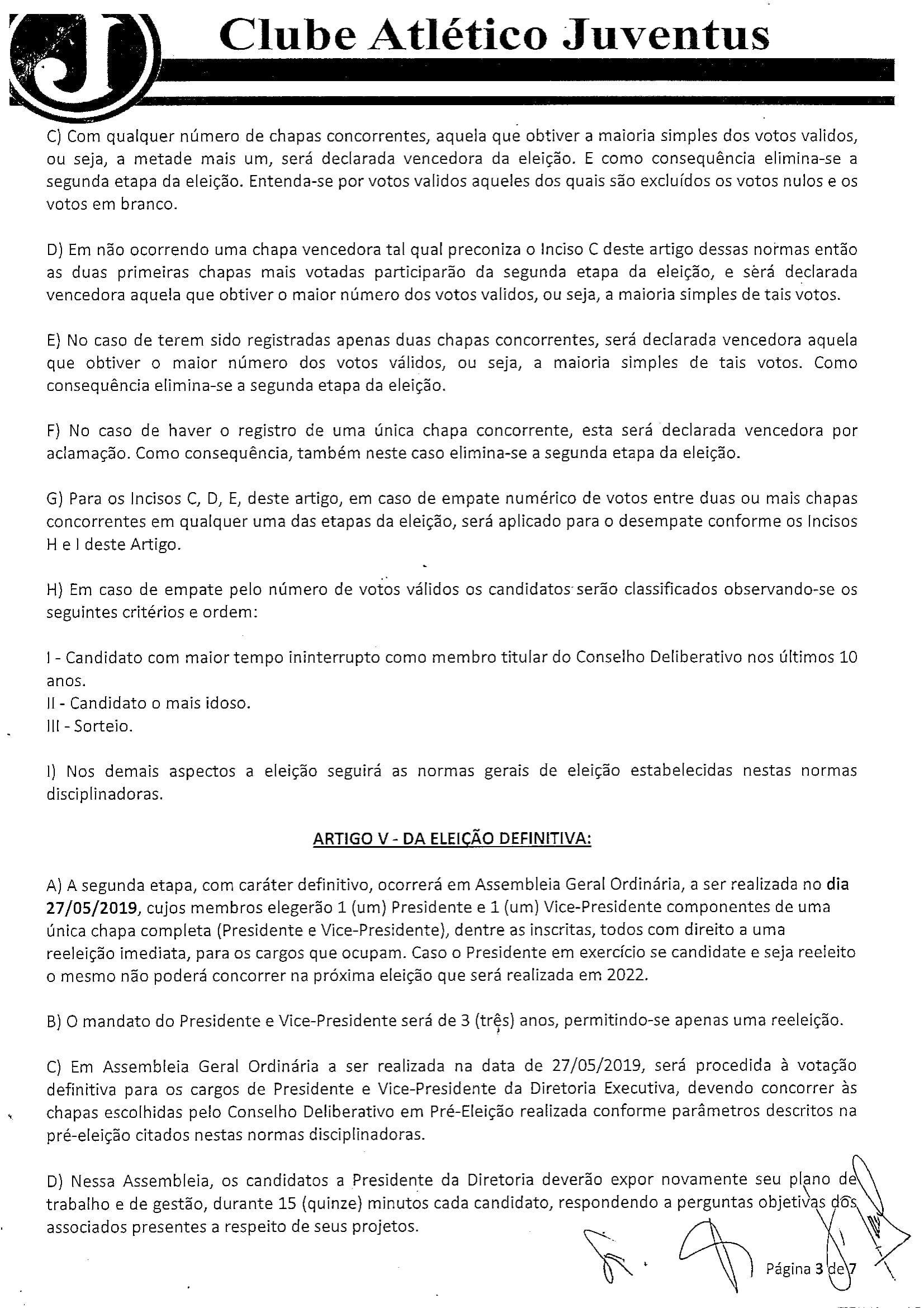 NORMAS DISCIPLINADORAS ELEIÇÃO 2019072-3