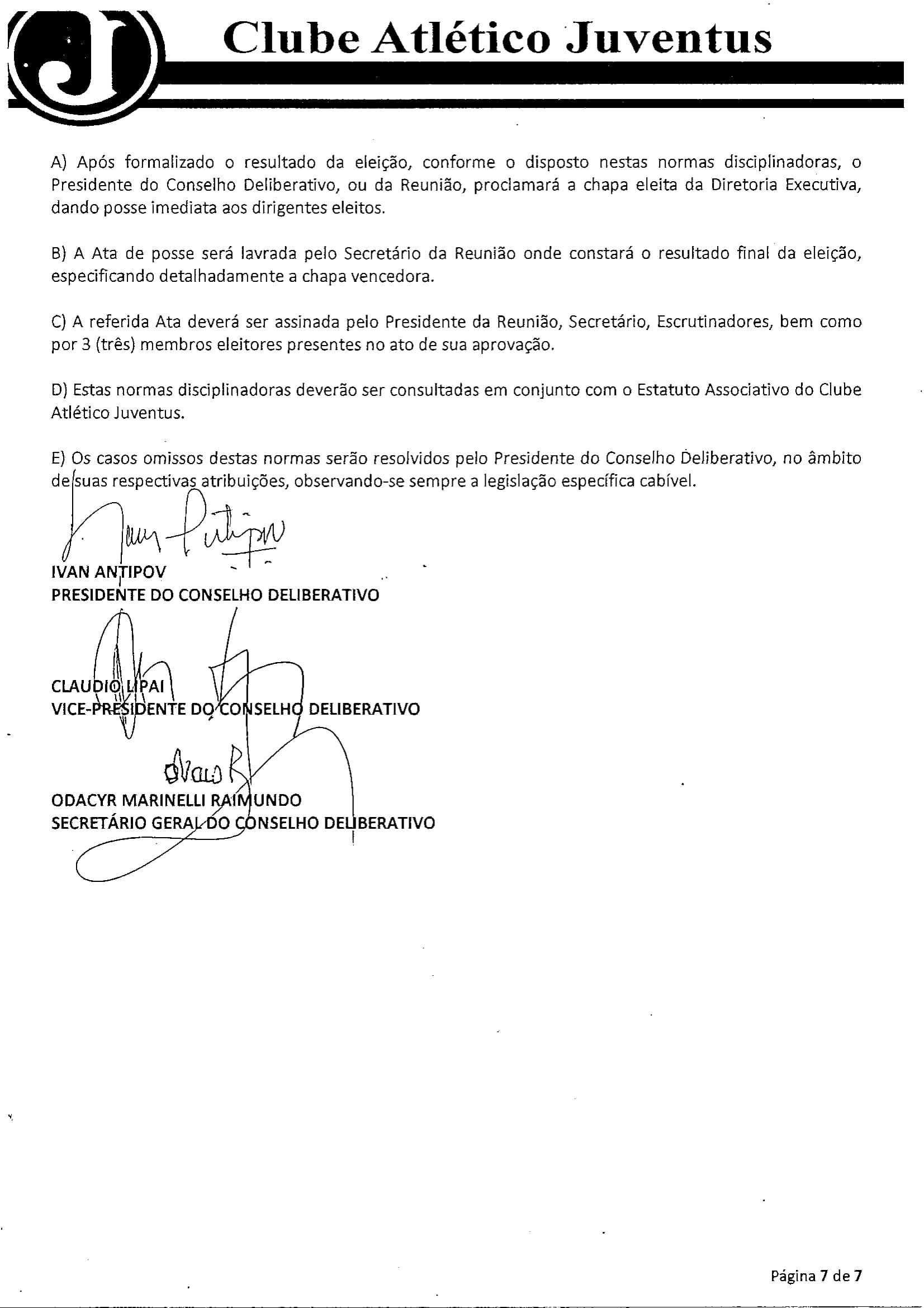 NORMAS DISCIPLINADORAS ELEIÇÃO 2019072-7
