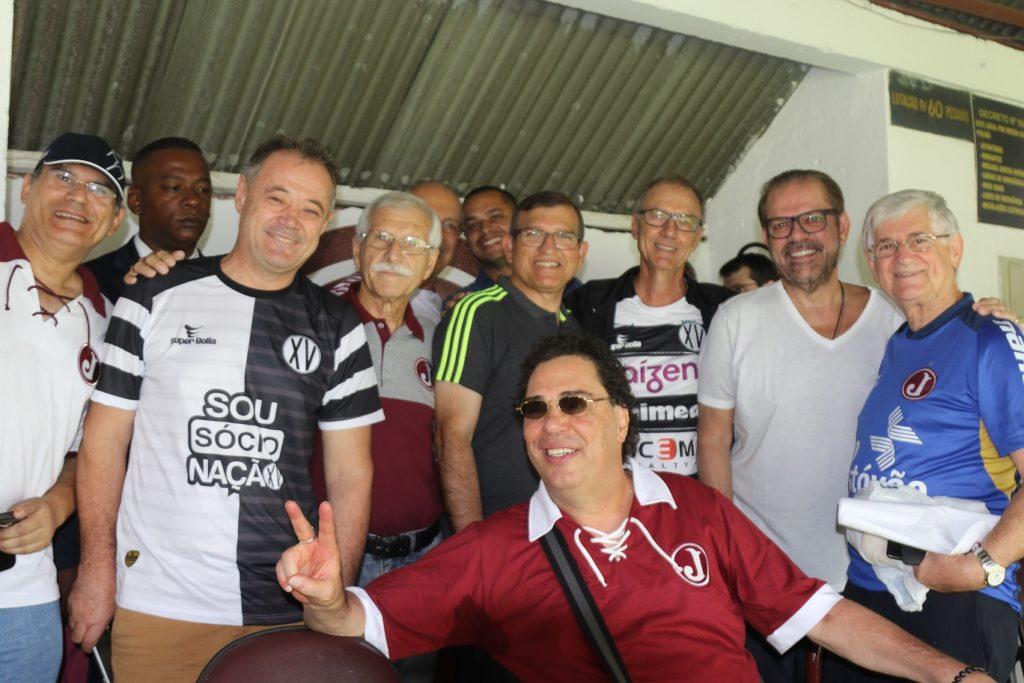 Presidente Domingos Sanches, Casagrande e o Presidente da FPF,  Reinaldo Carneiro Bastos. Foto: Marcelo Germano/ C A Juventus