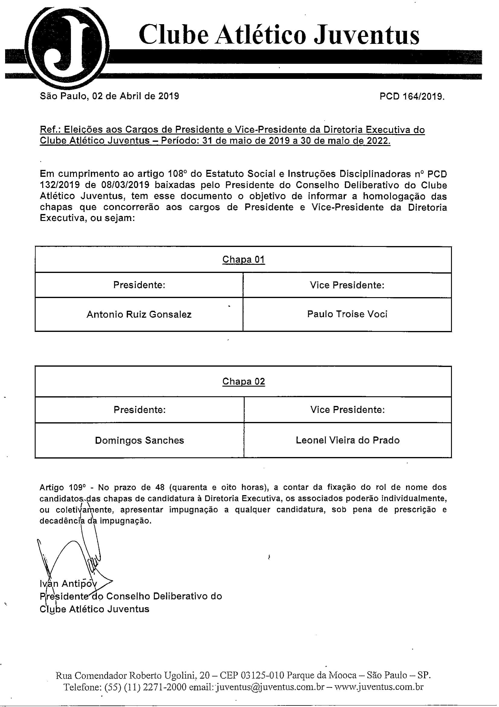 ELEIÇÕES AOS CARGOS DE PRESIDENTE E VICE PRESIDENTE DA D E075-1