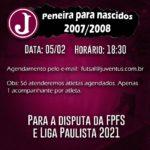 Juventus promove Peneira para a Categoria Sub 14